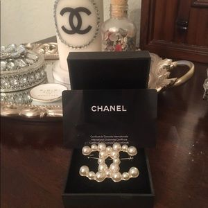 Authentic Chanel Faux Pearly Pearl Brooch
